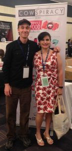 """Alison and Keegun Kuhn, filmmaker of """"Cowspiracy"""", at the AR Conference."""