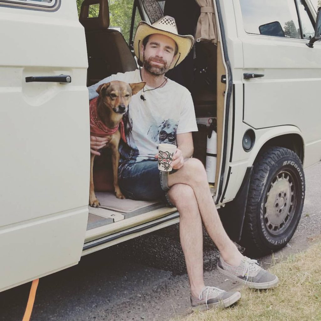 Eliot and his dog Lucy, when they were living in a van due to lack of animal-friendly housing.
