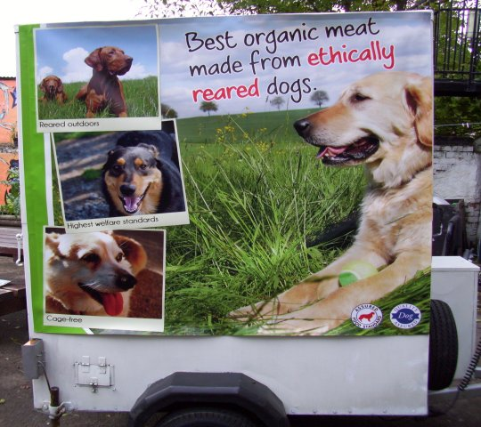 Trailer selling free ranged dog meat