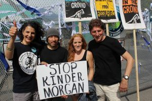 Shirley Samples, far left, protests at the Kinder Morgan Oil Refinery